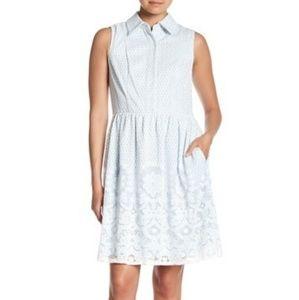 NWT Sandra Darren blue lace overlay dress,10